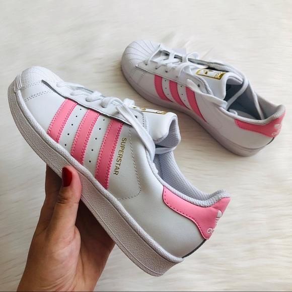 adidas superstar white pink gold